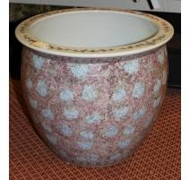 Grand cache-pot en porcelaine rose et bleu