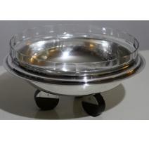 Coupe en métal argenté avec intérieur en cristal