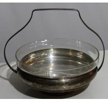 Coupe ronde en métal argenté avec anse