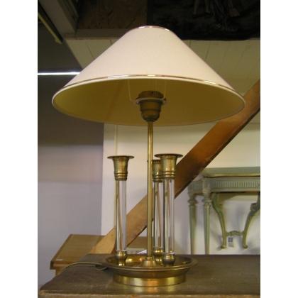 """Lampe en laiton et cristal, """"3 bougies"""""""