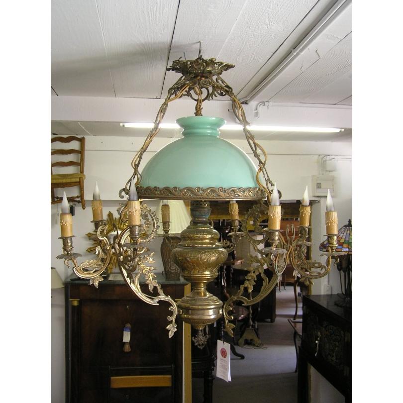 Suspension en opaline et bronze