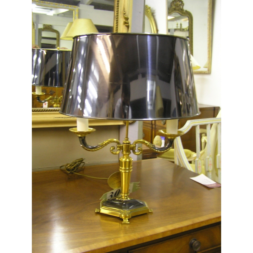 Lampe Empire en bronze doré et patiné