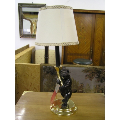 """Chandelier """"Ours"""" en résine monté en lampe"""