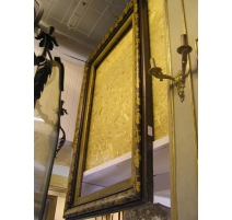 Cadre en chêne peint brun et or