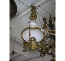 Suspension with lamp shade in beige