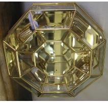 Plafonnier octogonal en laiton à 4 lumières