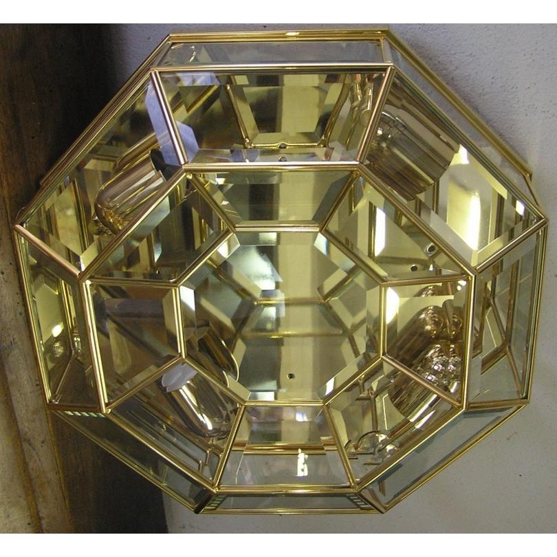 Plafonnier octogonal en laiton à 4