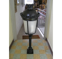 Lantern bollard on pillar, black, glass