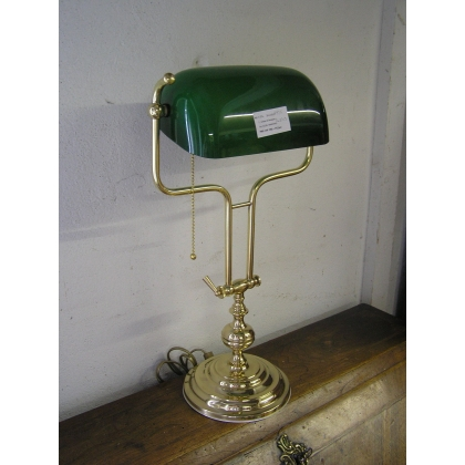 Lampe de banquier en laiton, globe en
