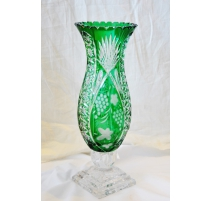 "Vase in green crystal ""Grapes"""