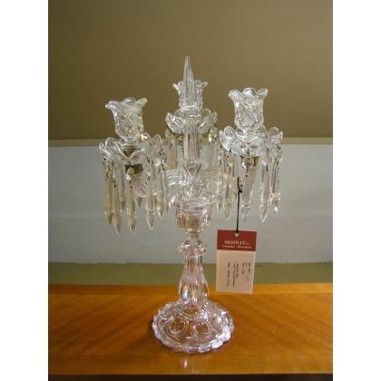 chandelier 3 bougeoirs en verre moul sur moinat sa antiquit s d coration. Black Bedroom Furniture Sets. Home Design Ideas
