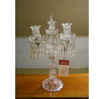 Candlestick, 3 candle holders, moulded glass