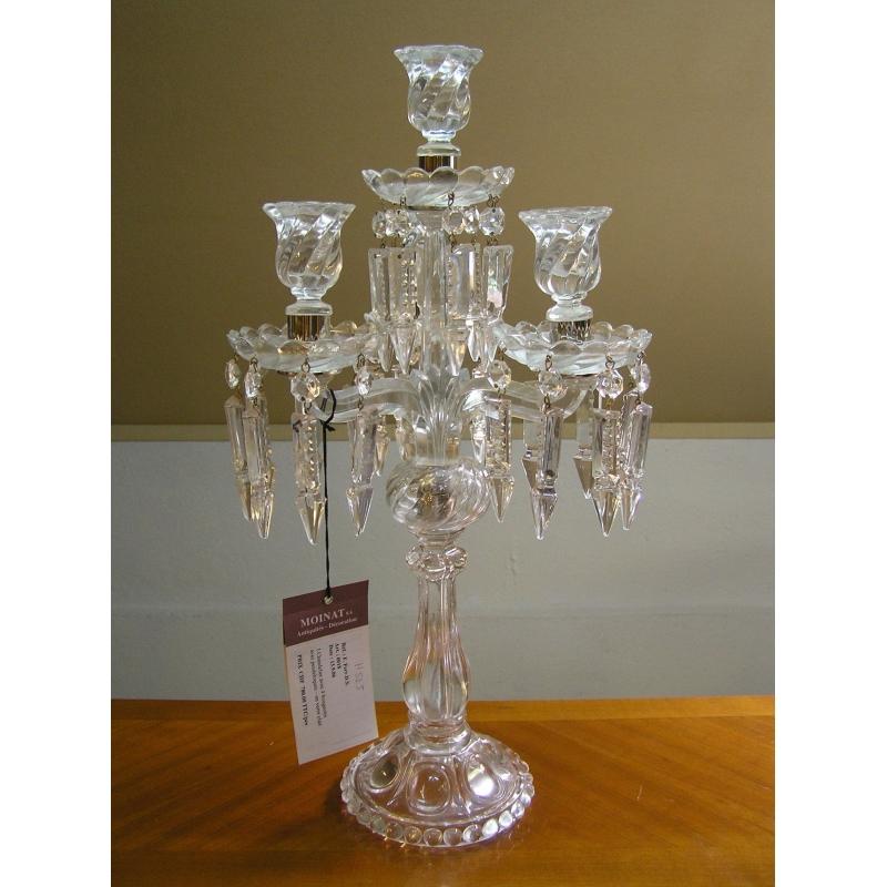 chandelier 4 bougeoirs en verre avec sur moinat sa antiquit s d coration. Black Bedroom Furniture Sets. Home Design Ideas