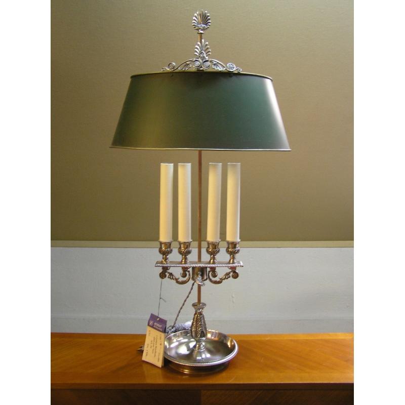 lampe bouillotte avec abat jour vert sur moinat sa antiquit s d coration. Black Bedroom Furniture Sets. Home Design Ideas
