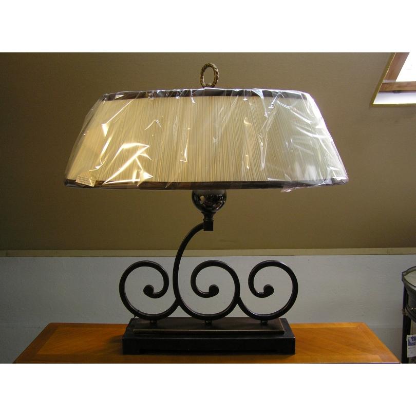 Lampe Pied Noir Avec Abat Jour Blanc Sur Moinat Sa Antiquites