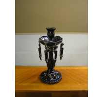 Candlestick, 1 candle holder, black glass