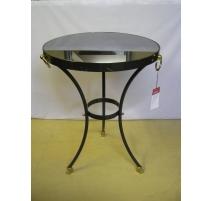 Pedestal table, patina barrel of a gun and