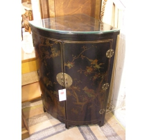 Corner cabinet black lacquer, decor chinese