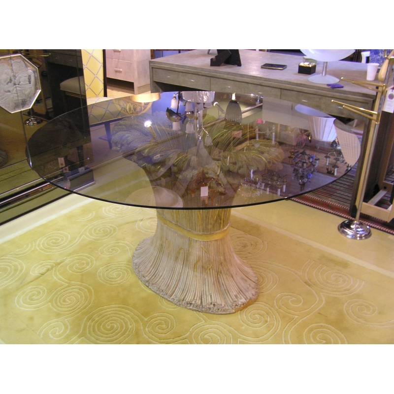 table ovale plateau verre pi tement sur moinat sa. Black Bedroom Furniture Sets. Home Design Ideas