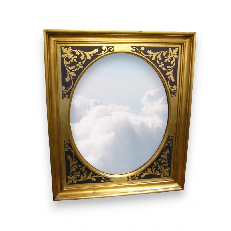 miroir avec cadre en bois sur moinat sa antiquit s d coration. Black Bedroom Furniture Sets. Home Design Ideas