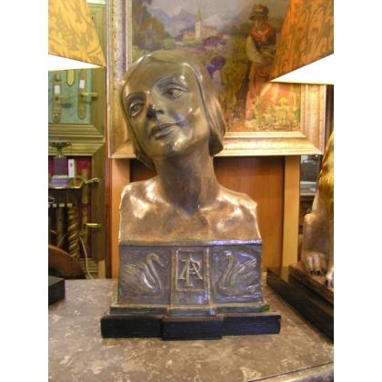 Buste en plâtre patiné de la danseuse Pavlova