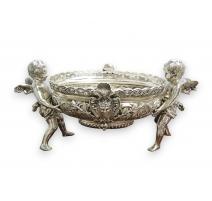 """Jardinière """"Anges"""" en métal argenté"""