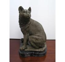 """Bronze """"Chat assis"""", socle en marbre"""