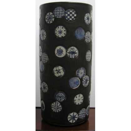 Porte-parapluie en porcelaine noire et