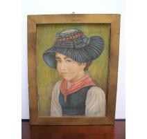 """Aquarelle sur toile """"Portrait d'une"""