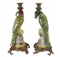 "Pair of candlesticks ""green Parrots"""