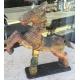 Cheval en bois sculpté polychrome, Inde