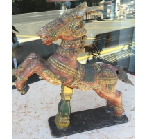 Horse carved wood polychrome, India