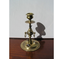 Pair of candlesticks in bronze with agate