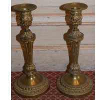 Pair of candlesticks Louis XVI bronze
