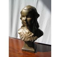 """Bronze """"Buste de jeune fille"""" signé"""