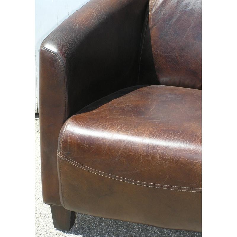 fauteuil club mod le silverstone en cuir brun sur moinat sa antiquit s d coration. Black Bedroom Furniture Sets. Home Design Ideas