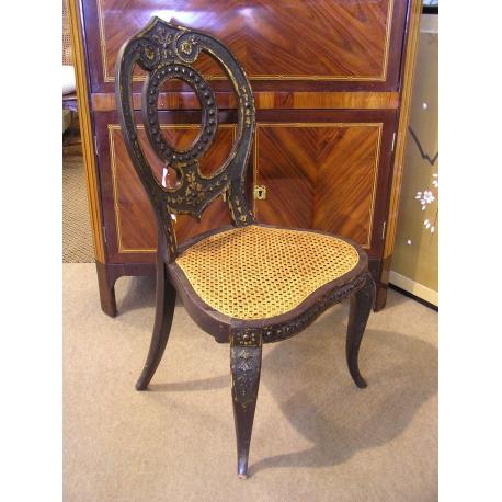 Chaise Napoleon III Noire Et Doree