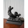 """Sculpture """"Cheval marin"""" en bois"""