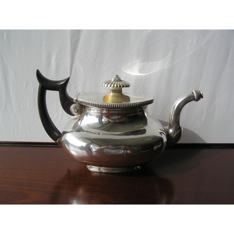Silver teapot and wood handle