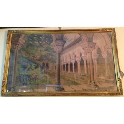 """Pastel """"Cloître de Moissac"""" signé E. FOREL"""