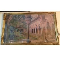 "Pastel ""Cloister of Moissac"", signed E. FOREL"