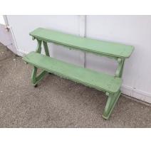 Etagère à deux rayons en bois peint vert