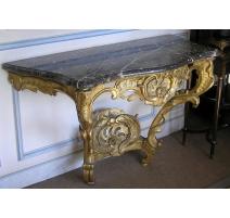 Console Louis XV. Dessus marbre gris.