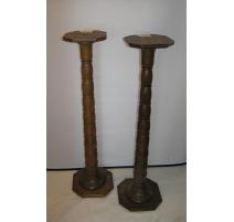 Pair of columns in oak