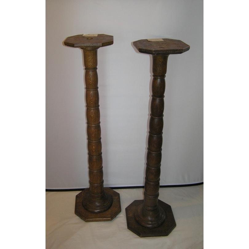 Paire de colonnes en chêne