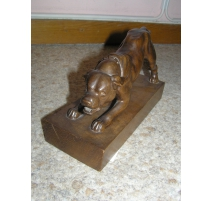 """Sculpture in wood """"Dog"""", signed E."""