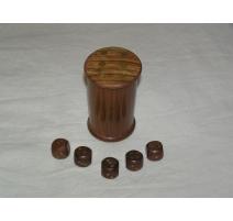 """Boîte en bois """"Shaker"""" contenant 5 dés"""