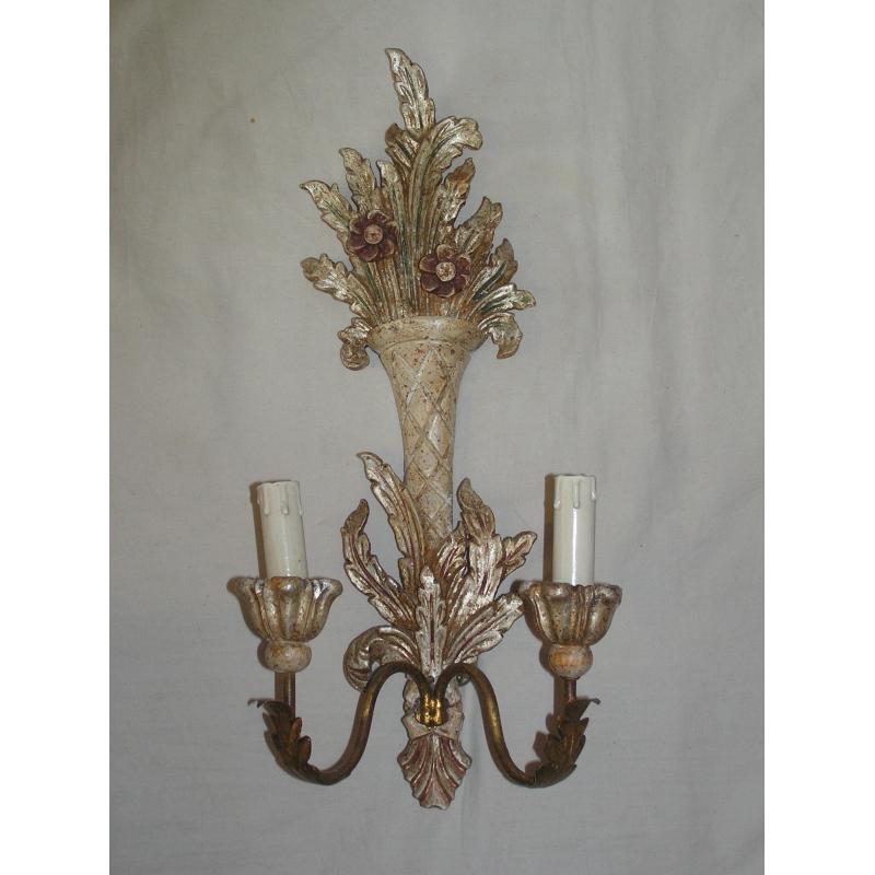 applique 2 lumi res en bois peint sur moinat sa antiquit s d coration. Black Bedroom Furniture Sets. Home Design Ideas