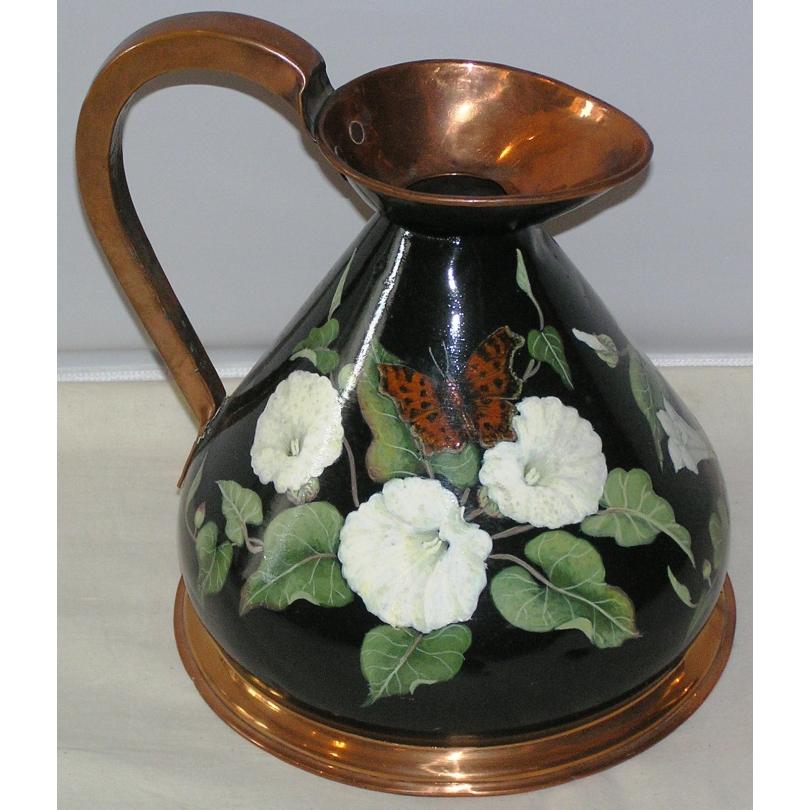 grand pot lait ancien en cuivre peint sur moinat sa antiquit s d coration. Black Bedroom Furniture Sets. Home Design Ideas