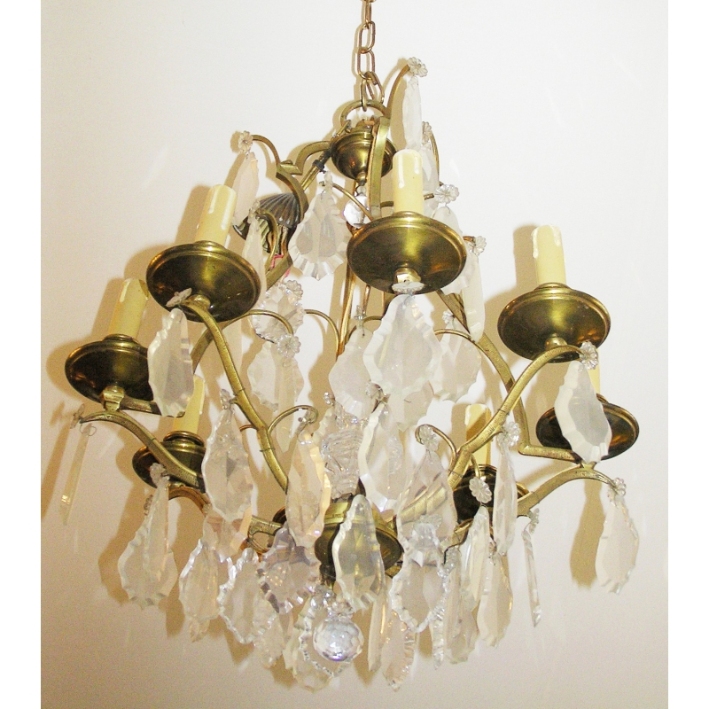 lustre en bronze et cristal france sur moinat sa antiquit s d coration. Black Bedroom Furniture Sets. Home Design Ideas